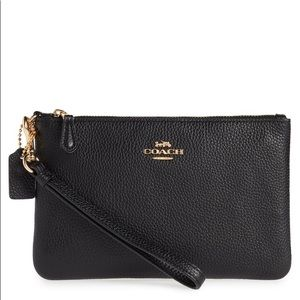 Coach Small Wristlet in Polished Pebble Leather